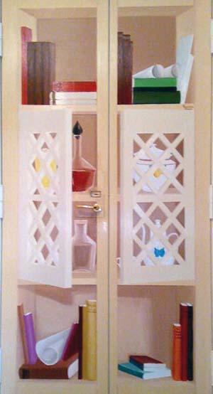 Trompe l'oeil su porta di metallo, di Francesca Panico