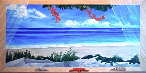 Trompe l'oeil che imita una finestra su paesaggio marino, di Francesca Panico