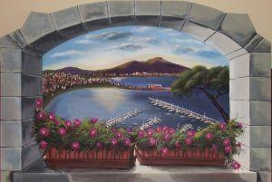 Trompe l'oeil raffigurante il Golfo di Napoli