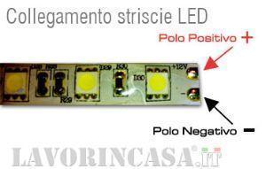 Collegamento elettrico delle strice led