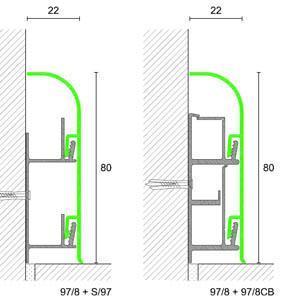 schema costruttivo battiscopa passacavi Metal Line 97 8 di Profilpas
