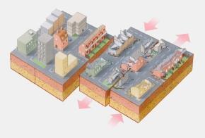 simbologia effetto del terremoto su stratigrafia del terreno