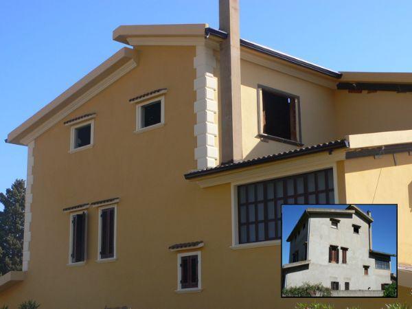 Restauro di una facciata con bugne e cornici in polistirene trattato DecorKit