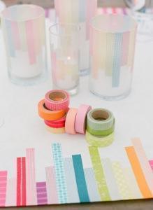 washi tape su tovaglia e bicchieri