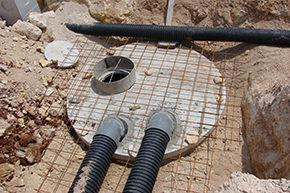 condutture sotterranee di raccolta acqua e serbatoio di accumulo