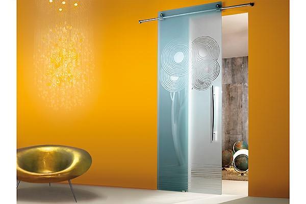 Porte scorrevoli su binario esterno in vetro - Porte a scorrimento esterno ...