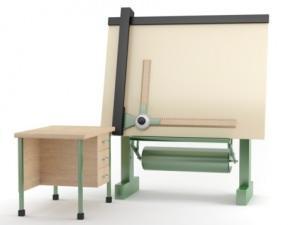 Tavolo da disegno con tecnigrafo