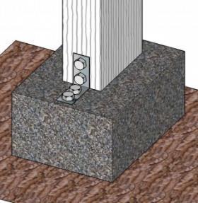 Un collegamento non corretto tra pilastro in legno e plinto in C.A.