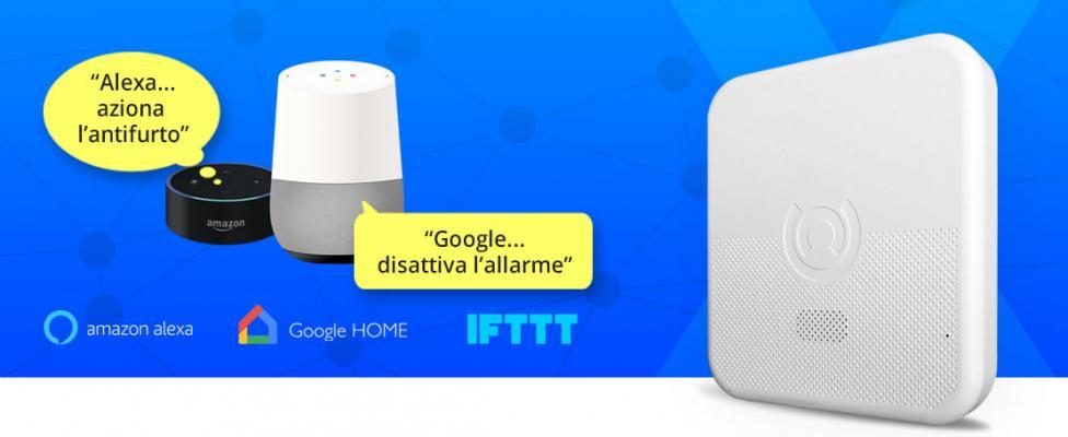 Sistema di allarme attivabile con comandi vocali compatibile con Assistente Google Home, Alexa, IFTTT
