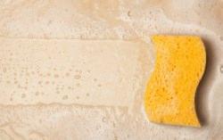 Spugna e detergente su piastrelle