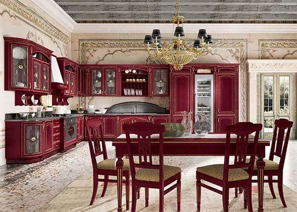 Cucina componibile GoldElite, finitura Rosso-Oro