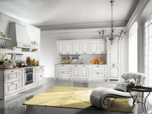 Cucina componibile modello Contea, color bianco decapé