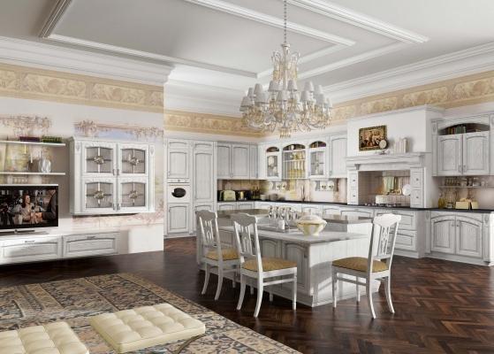 Cucina componibile modello GoldElite, finitura bianco-argento