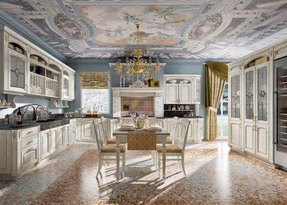 Cucine componibili: modello GoldElite Bianco-Oro
