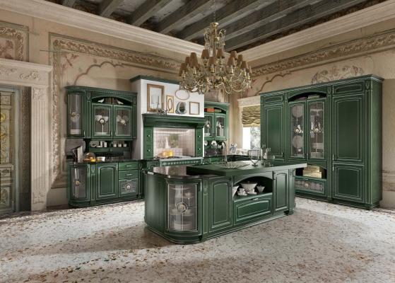 Cucina classica componibile: modello GoldElite, finitura Verde-Argento