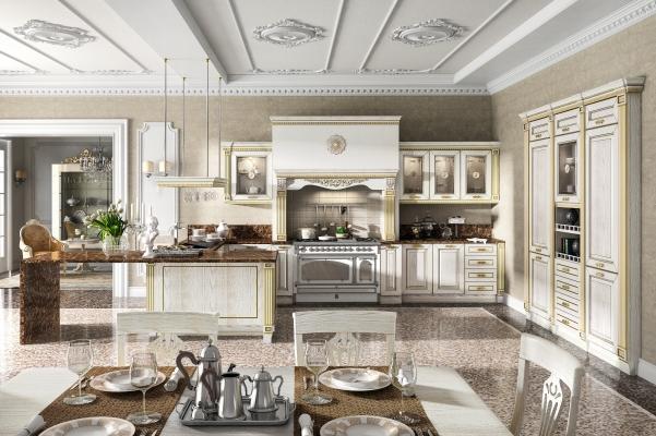 Cucina stile impero, finitura Bianco-Oro