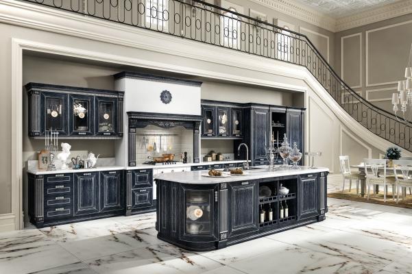 Modello di cucina componibile Imperial, finitura Blu-Argento