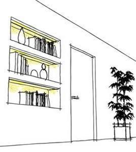 Linea Light Group: Fylo, schizzo per una nicchia libreria
