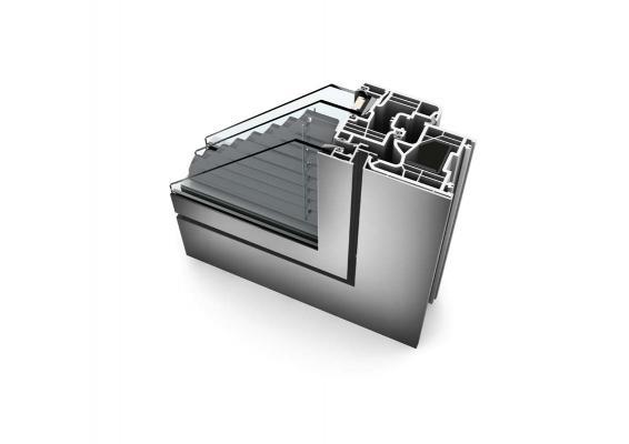 Internorm - un particolare della finestra in pvc-alluminio  kv240  con triplo vetro e veneziana integrata - stile studio