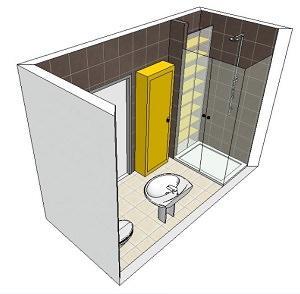 Bagno con box doccia chiuso: soluzione 2