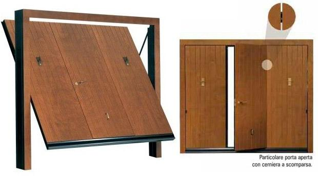 Particolare porta basculante in legno con cerniera a scomparsa - Sandrini