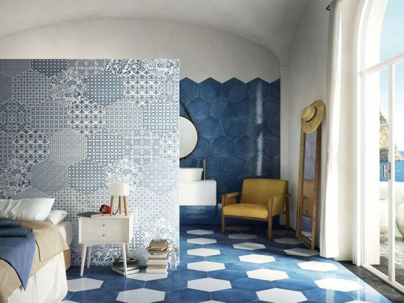 Gres porcellanato esagonale stile maiolica Oltremare 2