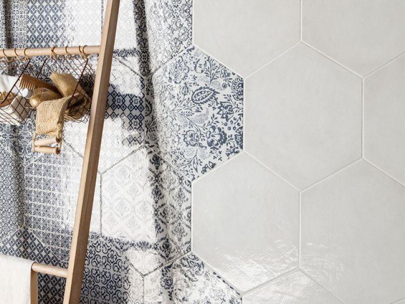 Gres porcellanato esagonale stile maiolica Oltremare 3