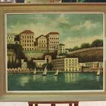Dipinto firmato paesaggio con barche del xx