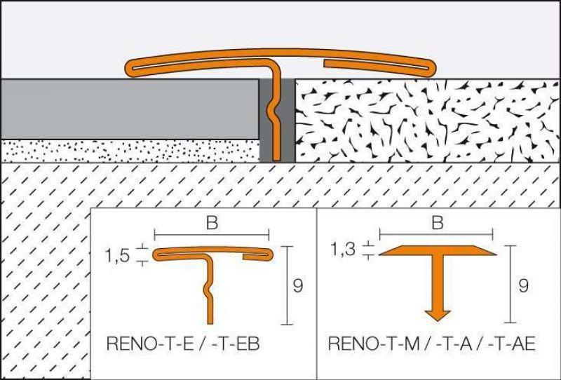 Profilo a T Schluter-RENO-T 2