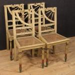Gruppo di quattro sedie spagnole laccate