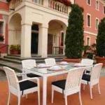 Set pranzo alluminio-rattan tavolo+6 sedie mod perla