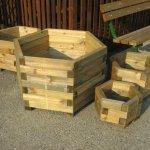 Fioriera linea esagonale professionale legno impregnato 90