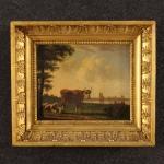 Antico dipinto fiammingo paesaggio bucolico del xix