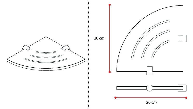 Angolare doccia singolo con asole in plexiglass 2
