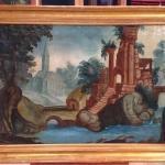 Antico dipinto francese paesaggio con figure del