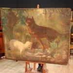 Antico dipinto francese lupo con agnello del