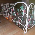 Ringhiera in ferro battuto forgiato con foglie di decoro grappoli uva