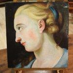 Dipinto italiano olio su tavola con dama