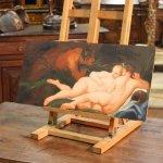Dipinto italiano olio su tavola con nudo