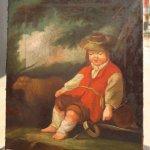Dipinto olio su tela bambino con pecorella