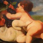 Dipinto italiano olio su tela gioco di