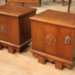 Coppia di comodini olandesi in legno di