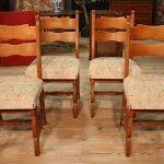 Gruppo di 4 sedie rustiche nord europee