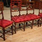 Antico salotto divano e sedie in noce