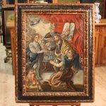 Antico dipinto spagnolo religioso del xviii secolo