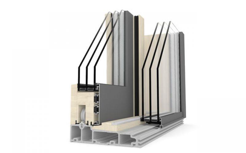 Porta alzante scorrevole in legno alluminio HS330 2