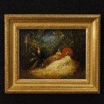 Dipinto francese firmato scena romantica in stile
