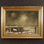 Dipinto olandese firmato paesaggio invernale