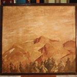 Dipinto spagnolo raffigurante paesaggio di montagna del