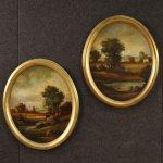 Coppia di dipinti italiani paesaggi firmati